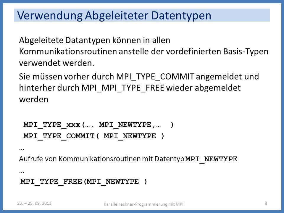 Abgeleitete Datantypen können in allen Kommunikationsroutinen anstelle der vordefinierten Basis-Typen verwendet werden. Sie müssen vorher durch MPI_TY