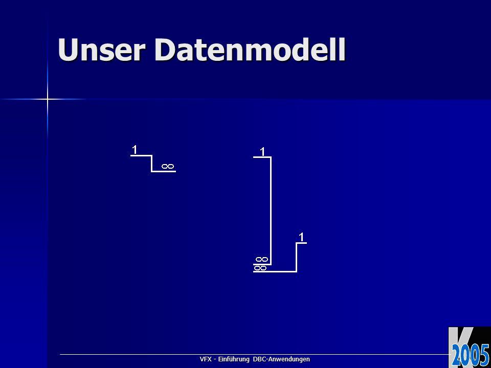 VFX - Einführung DBC-Anwendungen Unser Datenmodell