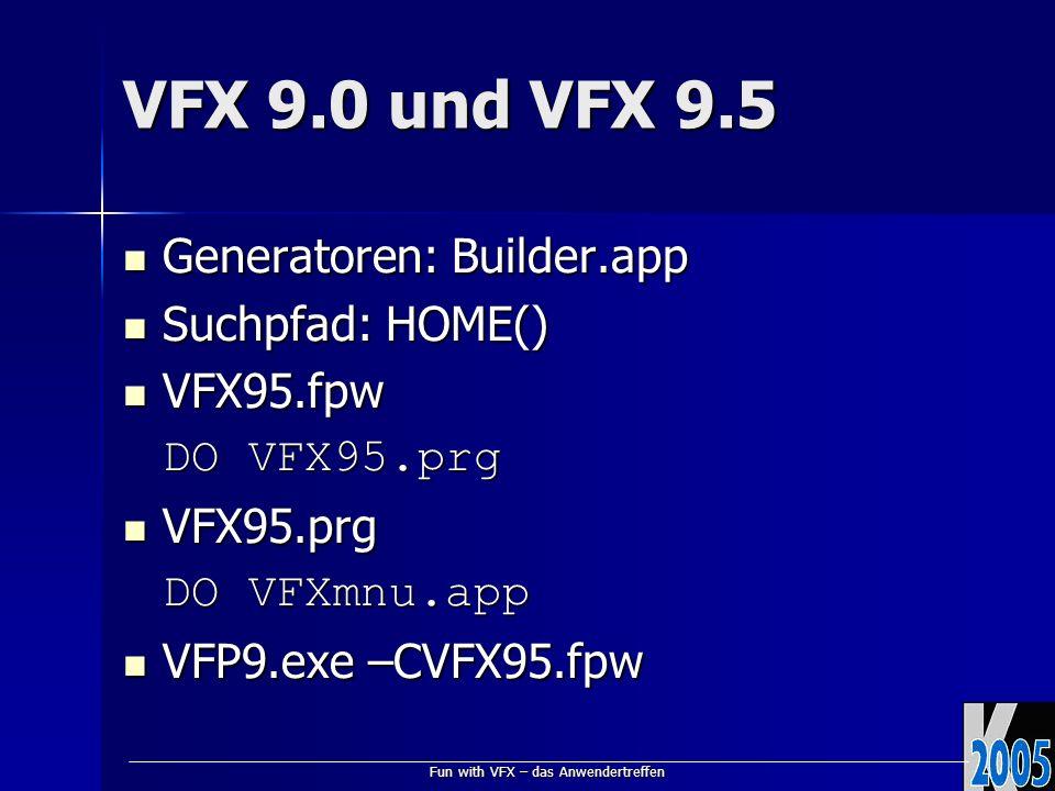 Fun with VFX – das Anwendertreffen VFX 9.0 und VFX 9.5 Generatoren: Builder.app Generatoren: Builder.app Suchpfad: HOME() Suchpfad: HOME() VFX95.fpw VFX95.fpw DO VFX95.prg VFX95.prg VFX95.prg DO VFXmnu.app VFP9.exe –CVFX95.fpw VFP9.exe –CVFX95.fpw