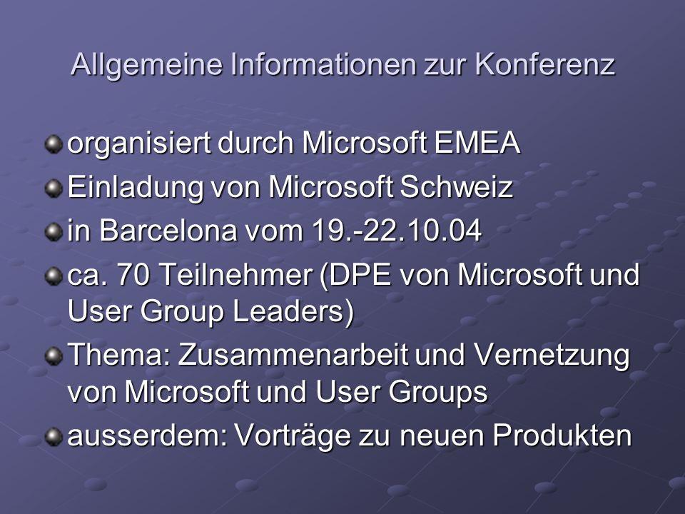 Zusammenarbeit Microsoft – User Groups Vernetzung zwischen Microsoft und User Groups und zwischen User Groups Codezone (Panoramabox) als Portal zu den User Groups Keine Vermischung der Inhalte von Microsoft und derjenigen der User Groups.