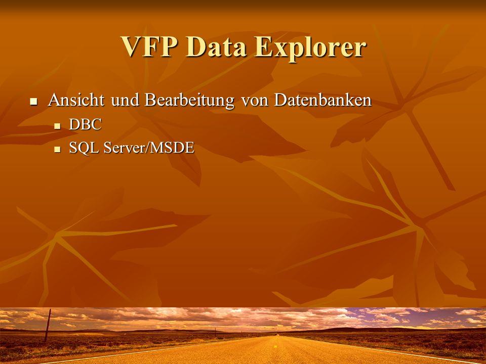 VFP Data Explorer Ansicht und Bearbeitung von Datenbanken Ansicht und Bearbeitung von Datenbanken DBC DBC SQL Server/MSDE SQL Server/MSDE