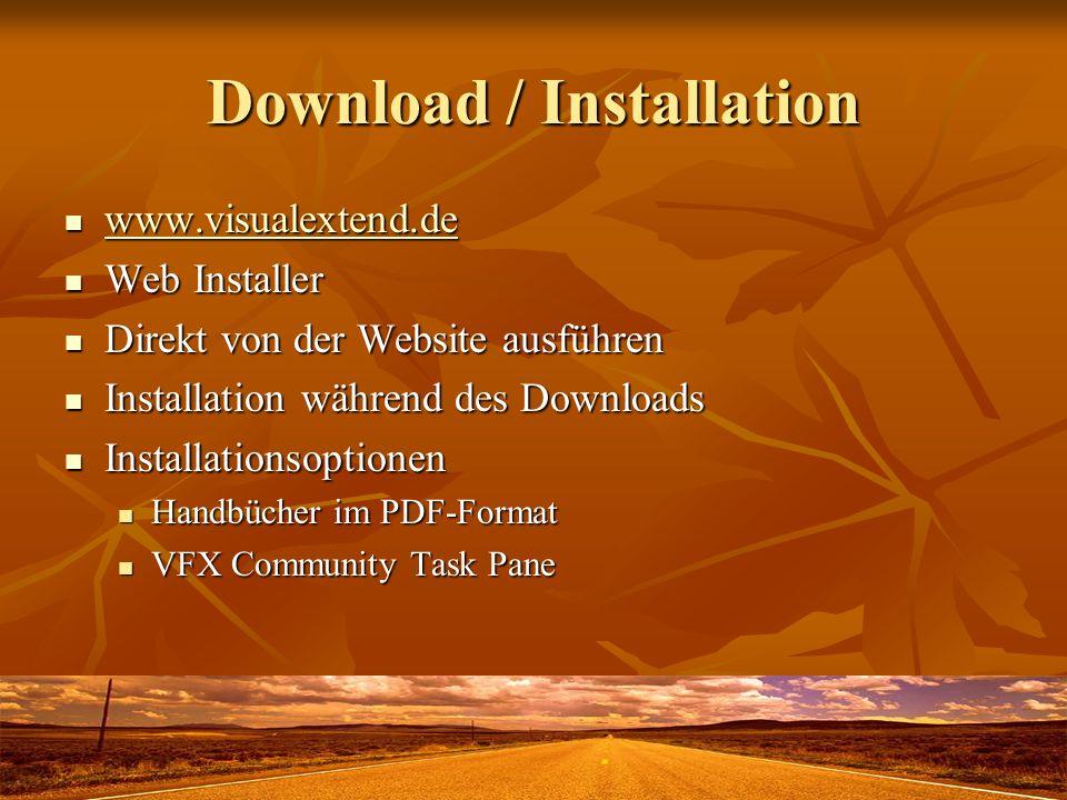 Download / Installation www.visualextend.de www.visualextend.de www.visualextend.de Web Installer Web Installer Direkt von der Website ausführen Direkt von der Website ausführen Installation während des Downloads Installation während des Downloads Installationsoptionen Installationsoptionen Handbücher im PDF-Format Handbücher im PDF-Format VFX Community Task Pane VFX Community Task Pane