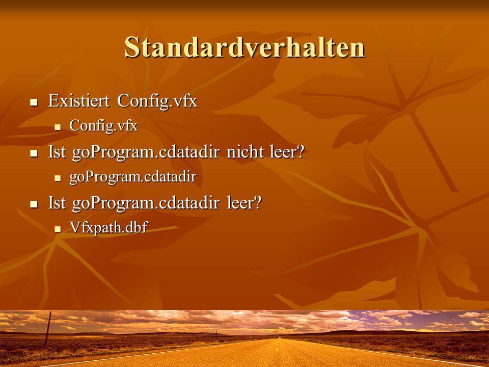 Standardverhalten Existiert Config.vfx Existiert Config.vfx Config.vfx Config.vfx Ist goProgram.cdatadir nicht leer.