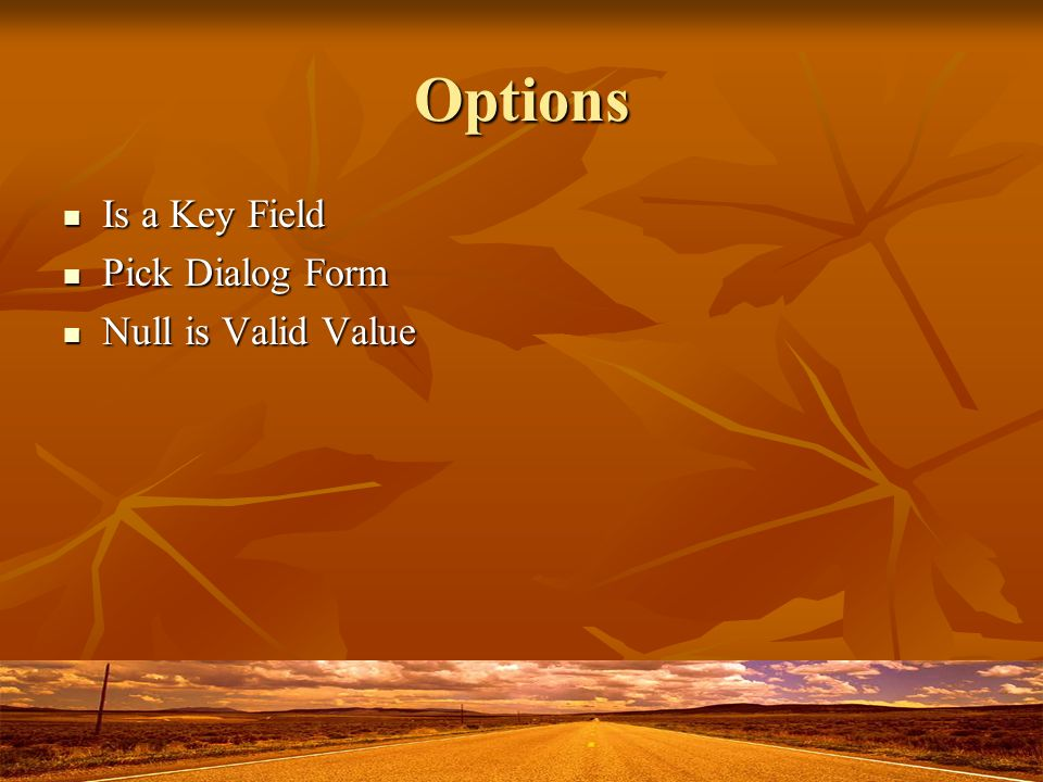 Options Is a Key Field Is a Key Field Pick Dialog Form Pick Dialog Form Null is Valid Value Null is Valid Value