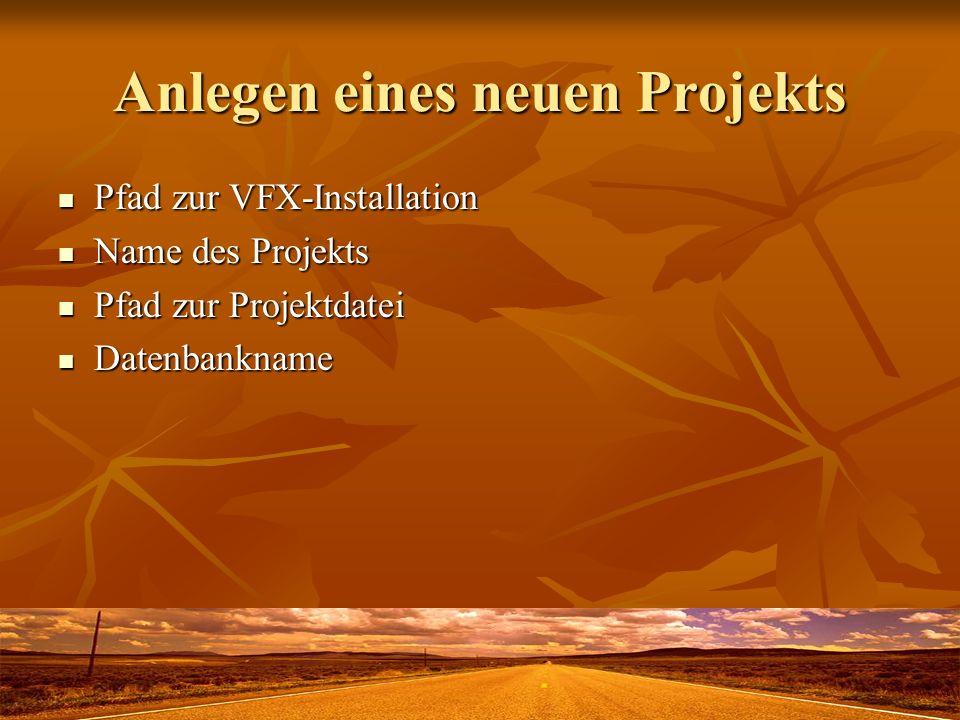 Anlegen eines neuen Projekts Pfad zur VFX-Installation Pfad zur VFX-Installation Name des Projekts Name des Projekts Pfad zur Projektdatei Pfad zur Projektdatei Datenbankname Datenbankname