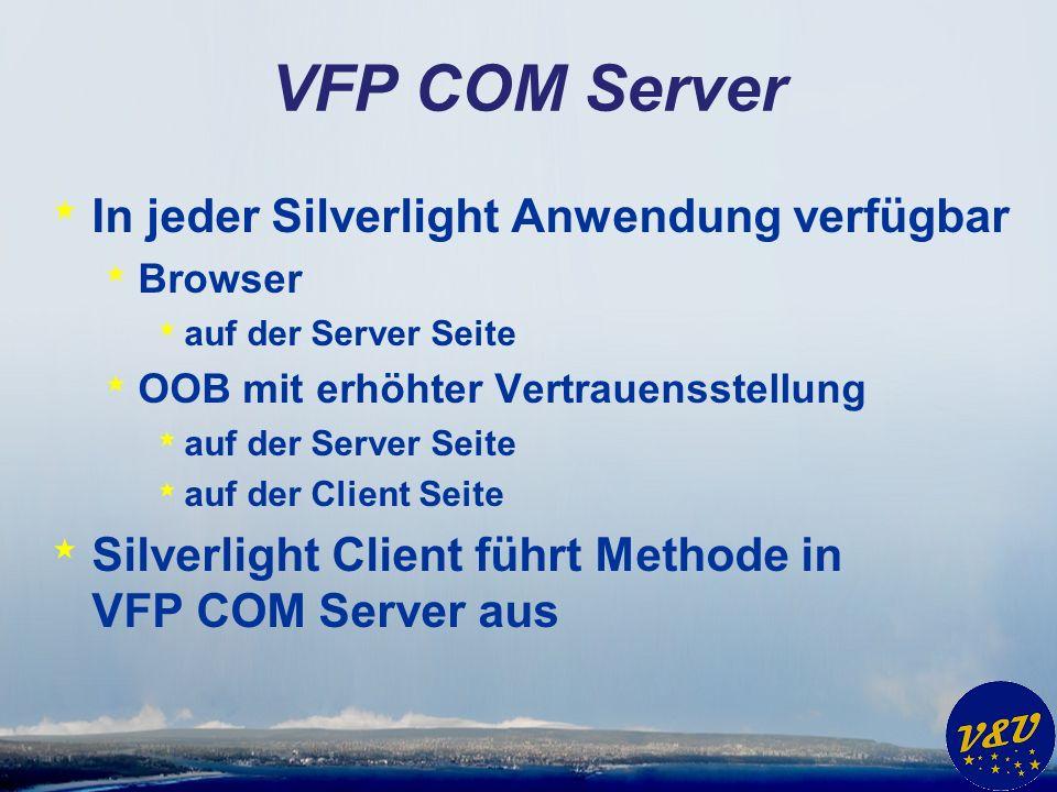 VFP COM Server * In jeder Silverlight Anwendung verfügbar * Browser * auf der Server Seite * OOB mit erhöhter Vertrauensstellung * auf der Server Seite * auf der Client Seite * Silverlight Client führt Methode in VFP COM Server aus