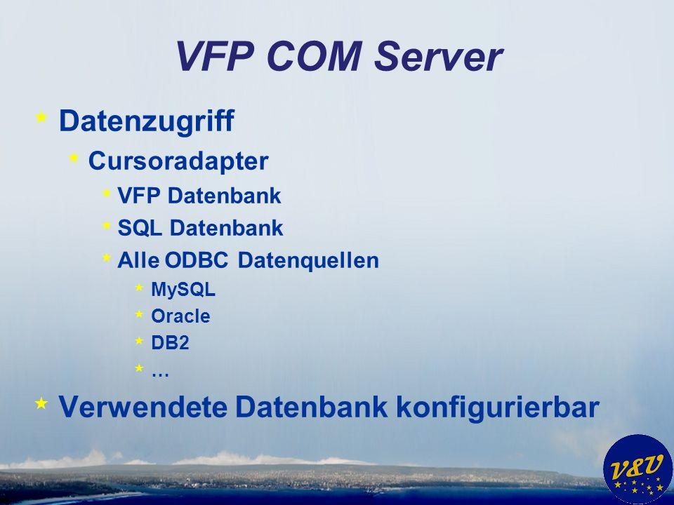 VFP COM Server * Datenzugriff * Cursoradapter * VFP Datenbank * SQL Datenbank * Alle ODBC Datenquellen * MySQL * Oracle * DB2 *…*… * Verwendete Datenbank konfigurierbar