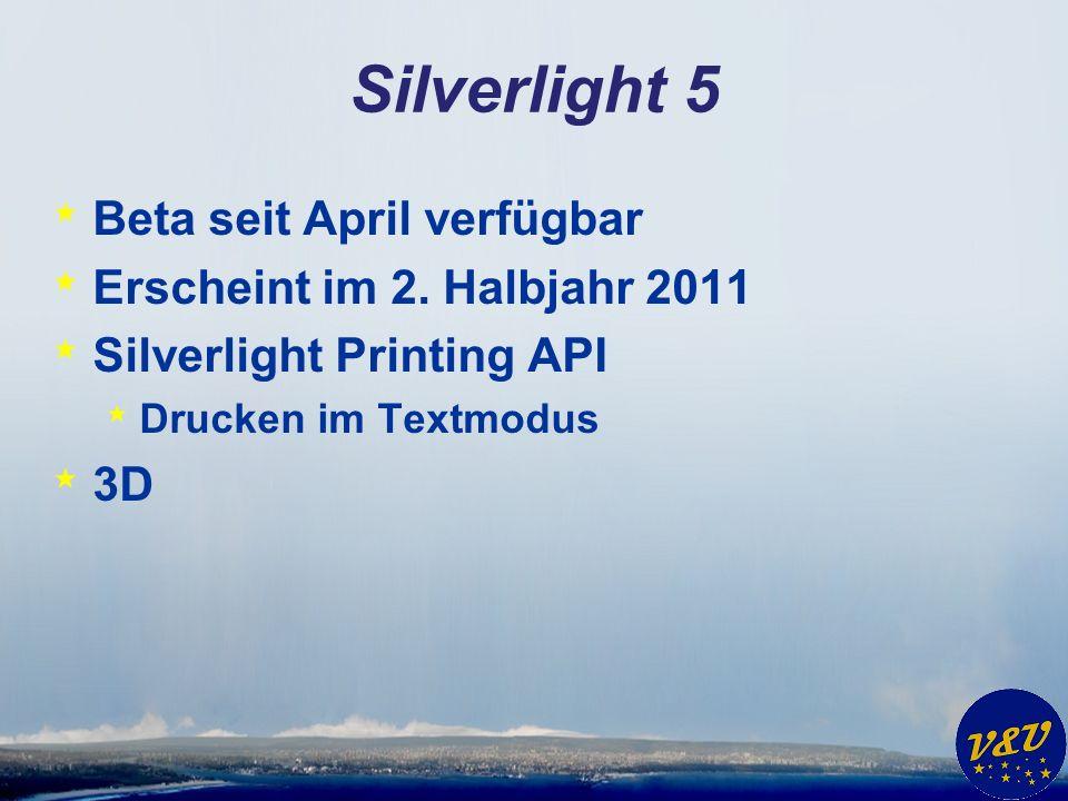 Silverlight 5 * Beta seit April verfügbar * Erscheint im 2.