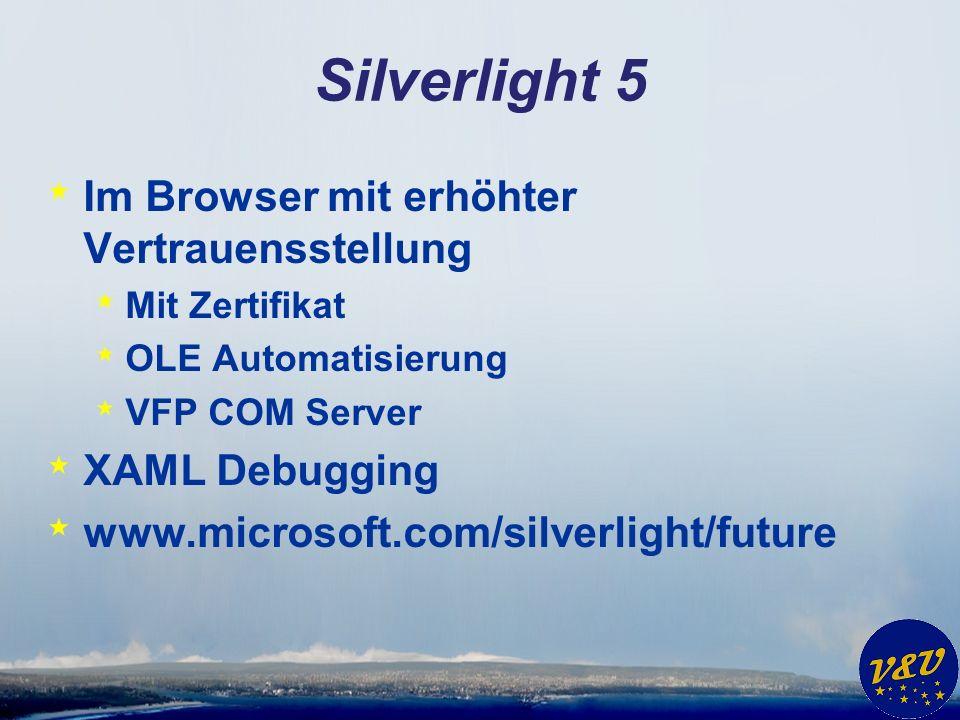 Silverlight 5 * Im Browser mit erhöhter Vertrauensstellung * Mit Zertifikat * OLE Automatisierung * VFP COM Server * XAML Debugging * www.microsoft.com/silverlight/future