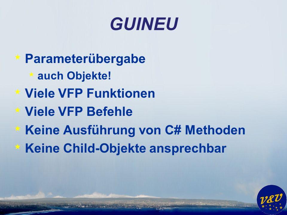 GUINEU * Beispiele in VFPizza * Kunden GUINEU * Aufträge GUINEU * Eigenschaft abfragen * Eigenschaft setzen * Speichern (indirekt, weil in C#)