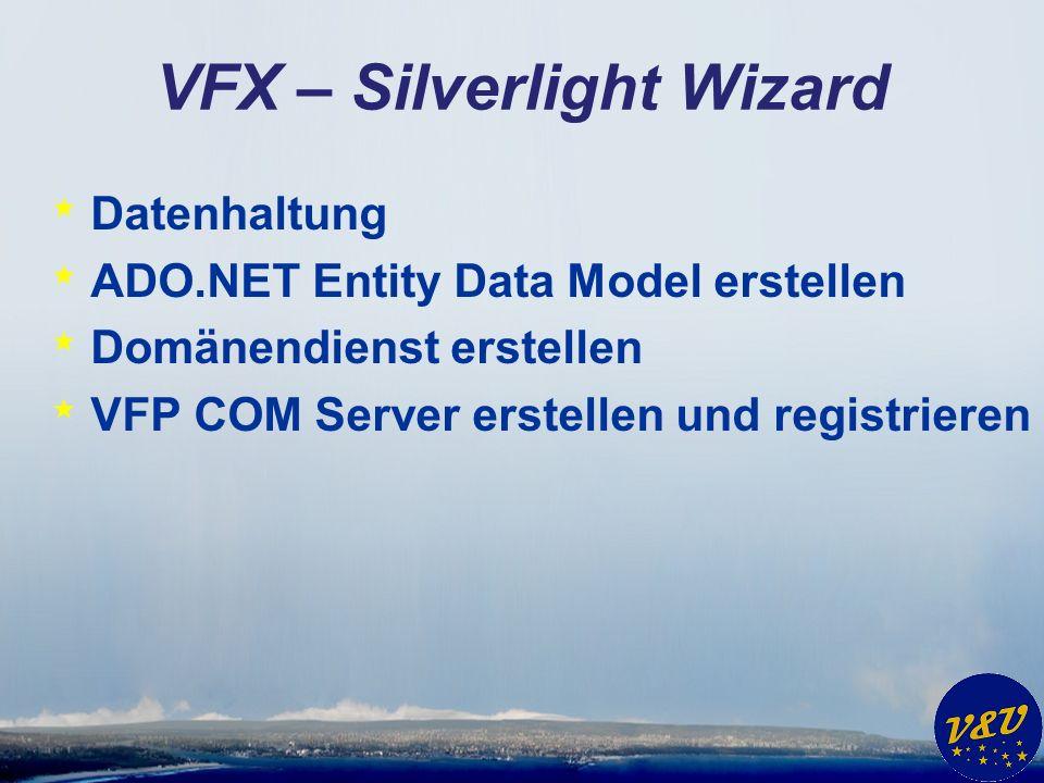 VFX – Silverlight Wizard * Datenhaltung * ADO.NET Entity Data Model erstellen * Domänendienst erstellen * VFP COM Server erstellen und registrieren