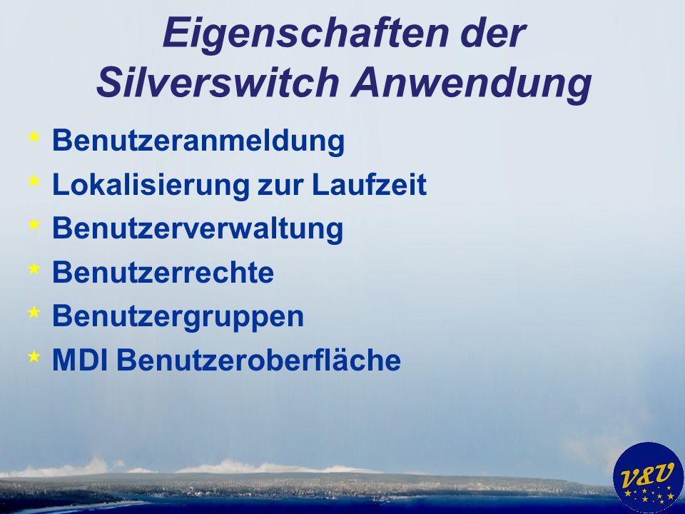 Eigenschaften der Silverswitch Anwendung * Benutzeranmeldung * Lokalisierung zur Laufzeit * Benutzerverwaltung * Benutzerrechte * Benutzergruppen * MDI Benutzeroberfläche