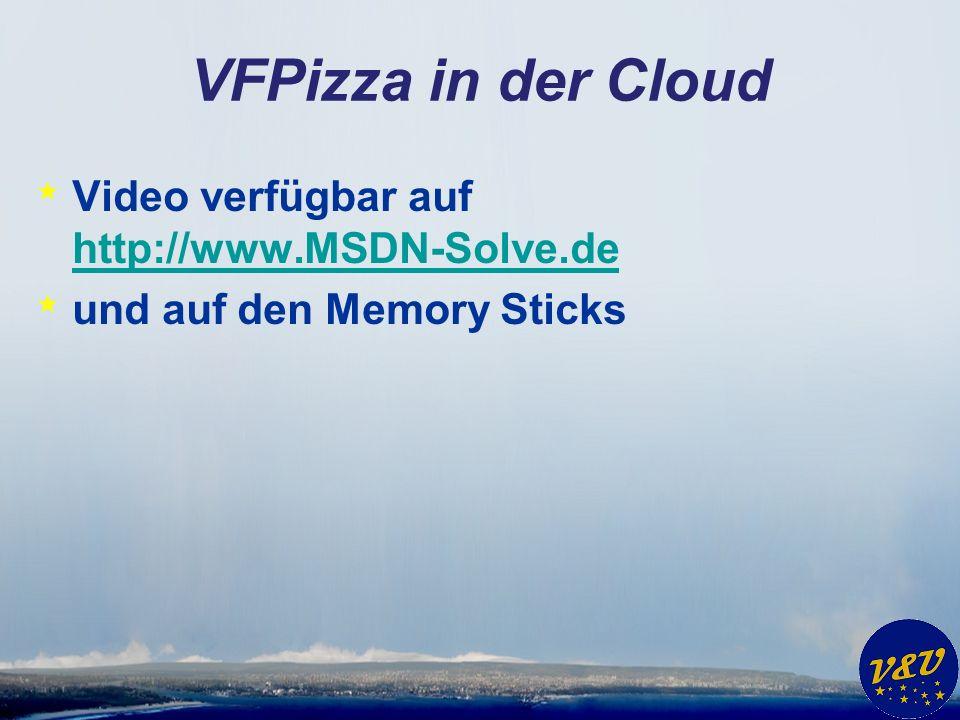 VFPizza in der Cloud * Video verfügbar auf http://www.MSDN-Solve.de http://www.MSDN-Solve.de * und auf den Memory Sticks