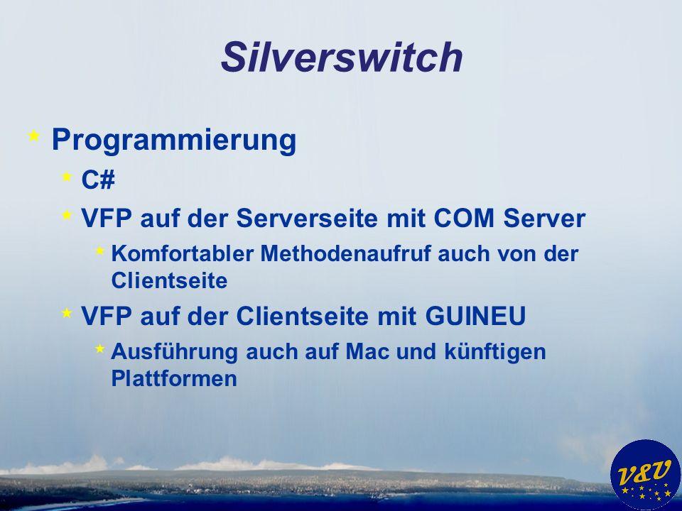 Silverswitch * Programmierung * C# * VFP auf der Serverseite mit COM Server * Komfortabler Methodenaufruf auch von der Clientseite * VFP auf der Clientseite mit GUINEU * Ausführung auch auf Mac und künftigen Plattformen