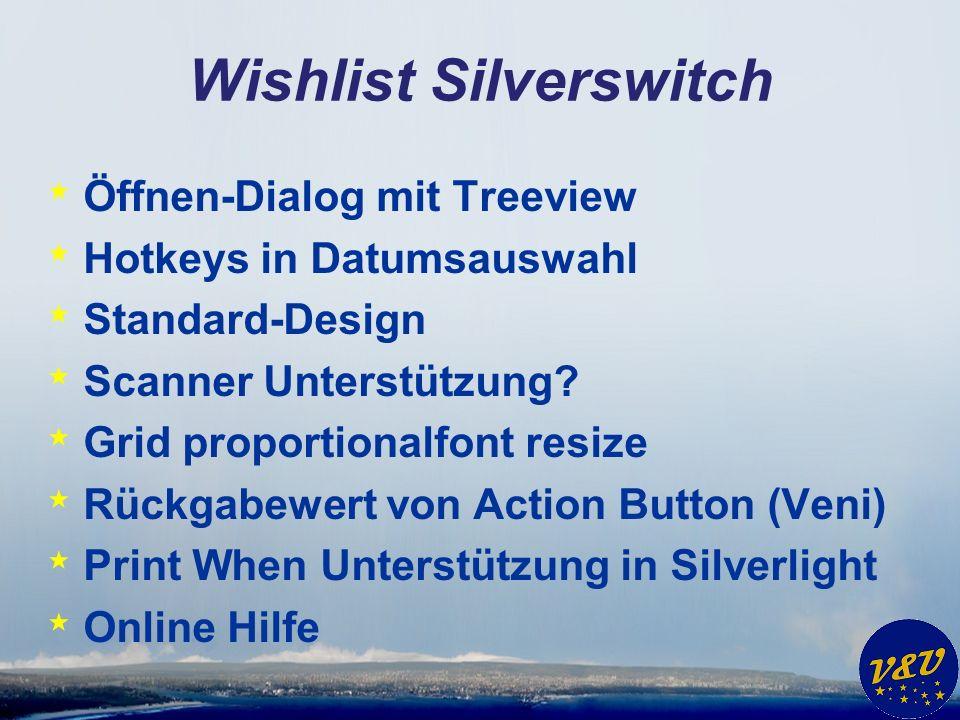 Wishlist Silverswitch * Öffnen-Dialog mit Treeview * Hotkeys in Datumsauswahl * Standard-Design * Scanner Unterstützung.