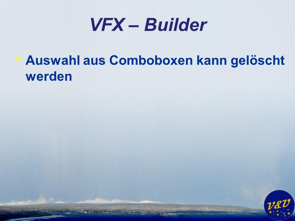 VFX – Task Pane * Einträge werden je Windows Benutzer gespeichert