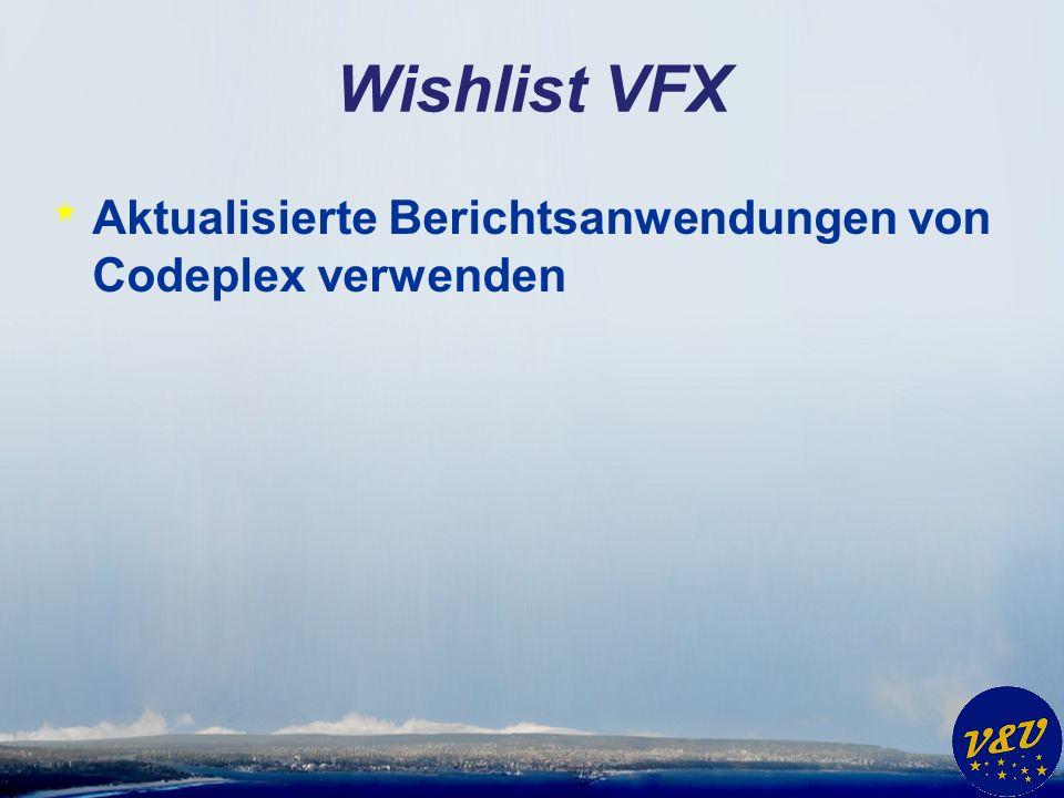 Wishlist VFX * Aktualisierte Berichtsanwendungen von Codeplex verwenden