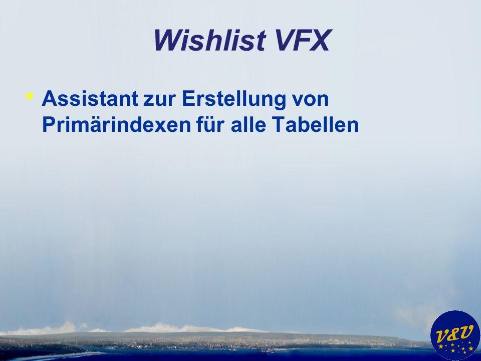 Wishlist VFX * Assistant zur Erstellung von Primärindexen für alle Tabellen