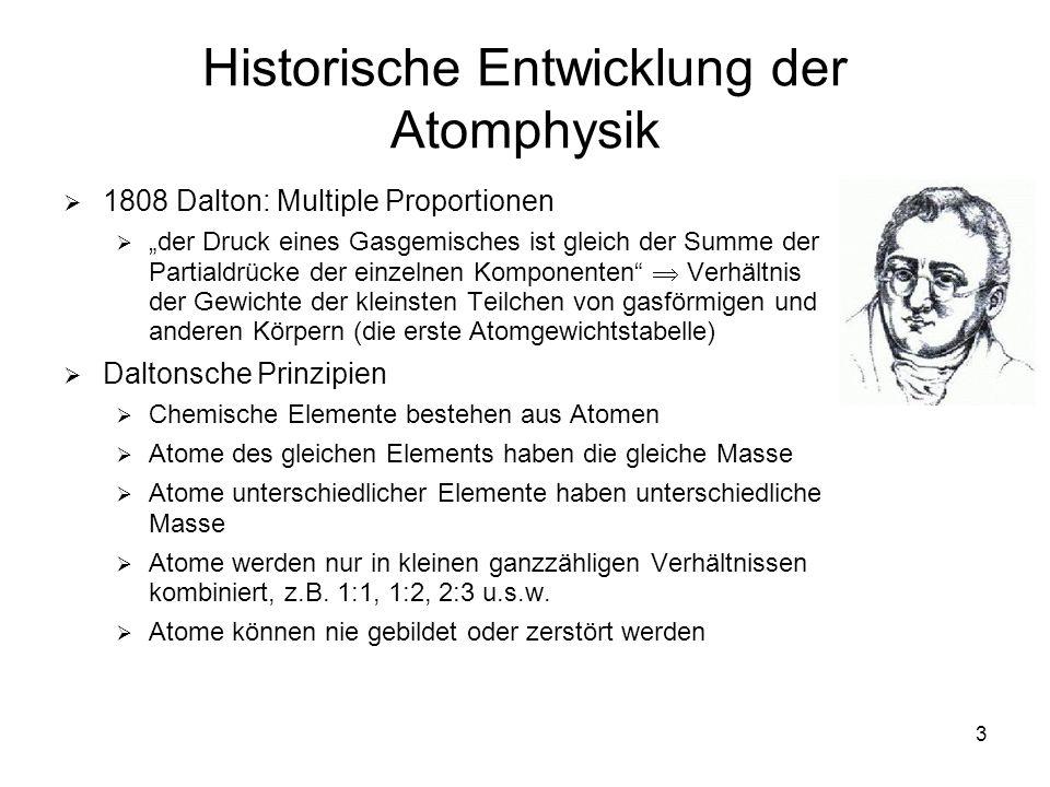 3 Historische Entwicklung der Atomphysik 1808 Dalton: Multiple Proportionen der Druck eines Gasgemisches ist gleich der Summe der Partialdrücke der ei