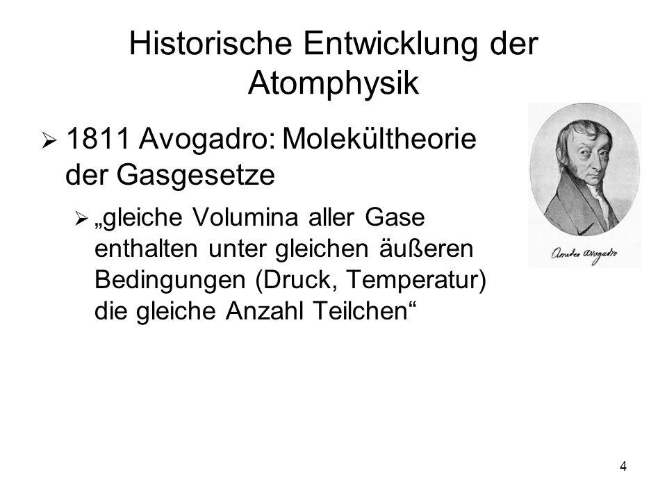 4 Historische Entwicklung der Atomphysik 1811 Avogadro: Molekültheorie der Gasgesetze gleiche Volumina aller Gase enthalten unter gleichen äußeren Bed