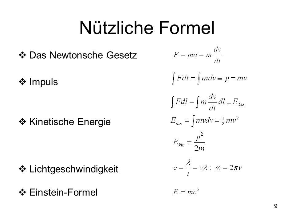 10 Wichtige Konstanten Avogadro-KonstanteN A = 6.02217(4) 10 23 mol -1 Boltzmann-Konstantek B = 1.38062(6) 10 -23 JK -1 Plancksche Konstanteh = 6.62620(5) 10 -34 Js ħ = h/2 = 1.0546 10 -34 Js Lichtgeschwindigkeit im Vakuumc = 2.997925(1) 10 8 ms -1 Ruhemasse des Elektronsm e = 9.10956(5) 10 -31 kg Ruheenergie des Elektronsm e c 2 = 0.51100 MeV Ruhemasse des Neutronsm n = 1.67482 10 -27 kg Ruhemasse des Protonsm p = 1.67261(1) 10 -27 kg Atomare Masseneinheitm( 12 C)/12 = 1.66055 10 -27 kg Elementarladunge = 1.602192(7) 10 -19 C Influenzkonstante 0 = 8.8542 10 -12 AsV -1 m -1 Induktionskonstante 0 = 1/ 0 c 2 = 1.2566 10 -6 VsA -1 m -1 Bohrscher Radiusr 1 = 4 0 ħ 2 /m e e 2 = 0.529166 10 -10 m Bohrsches Magneton B = ħe/2m e = 9.2740 10 -24 JT -1
