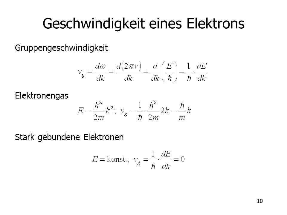 10 Geschwindigkeit eines Elektrons Gruppengeschwindigkeit Stark gebundene Elektronen Elektronengas