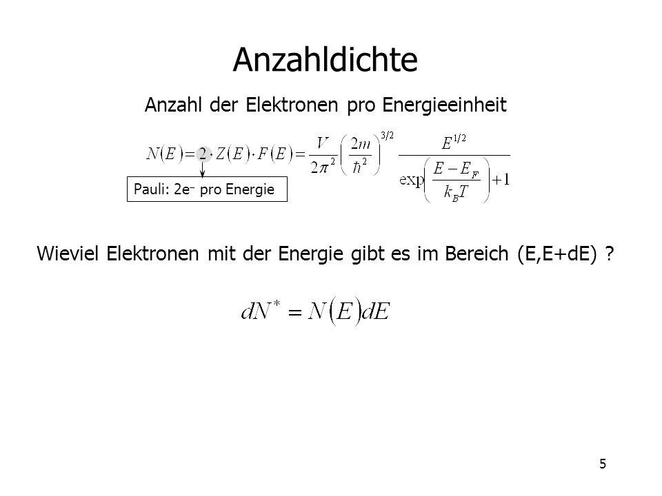 5 Anzahldichte Anzahl der Elektronen pro Energieeinheit Wieviel Elektronen mit der Energie gibt es im Bereich (E,E+dE) ? Pauli: 2e pro Energie