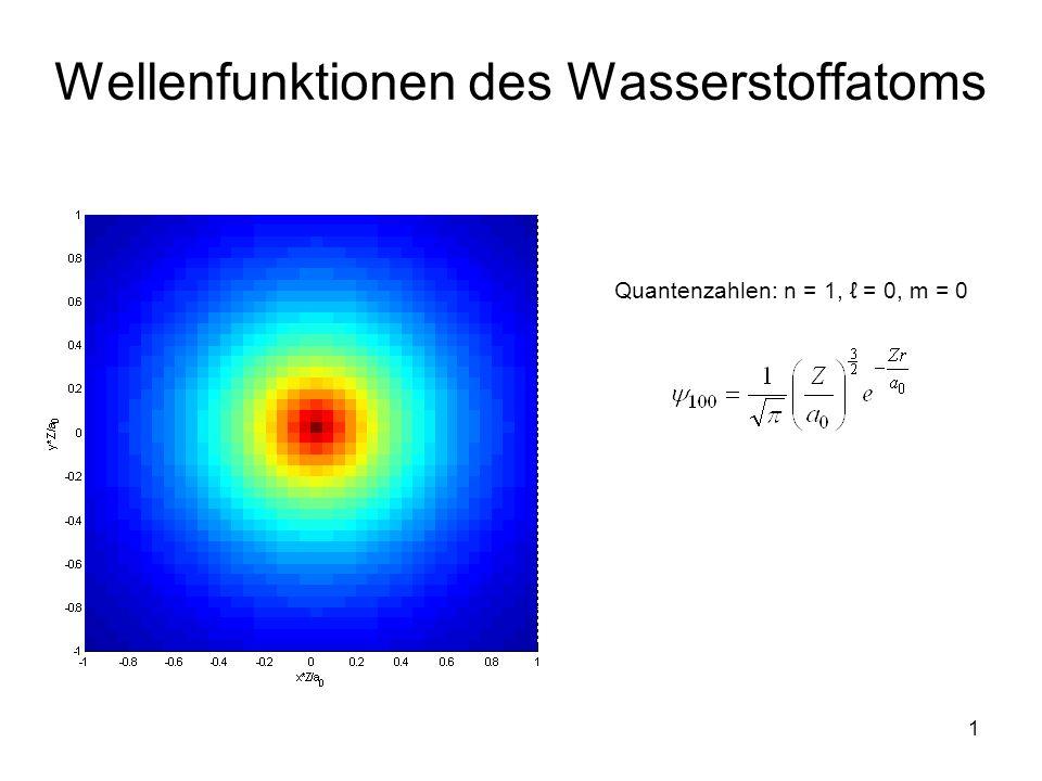 1 Wellenfunktionen des Wasserstoffatoms Quantenzahlen: n = 1, = 0, m = 0