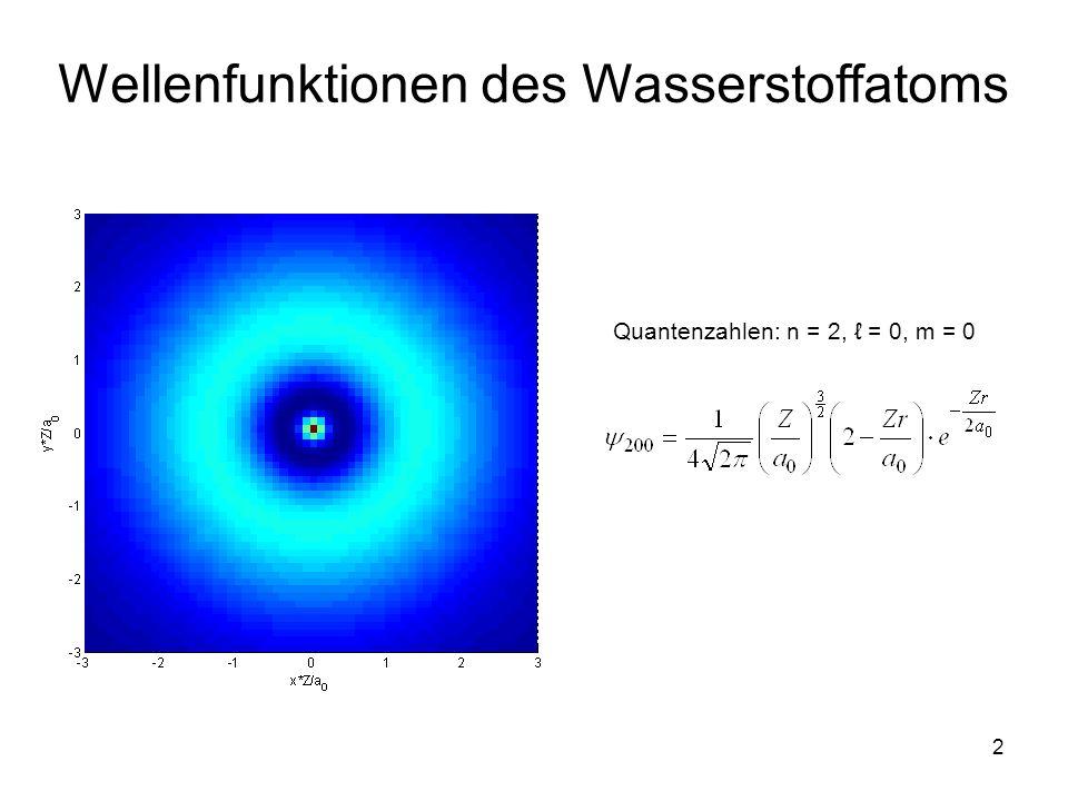 3 Wellenfunktionen des Wasserstoffatoms Quantenzahlen: n = 2, = 1, m = 0 Quantenzahlen: n = 2, = 1, m = ±1