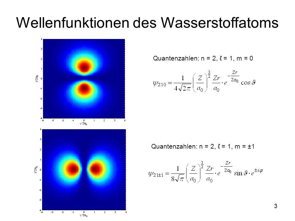 14 Analogie mit klassischer Mechanik Rotationsenergie eines Teilchens KM QM … Bahndrehimpuls-Quantenzahl