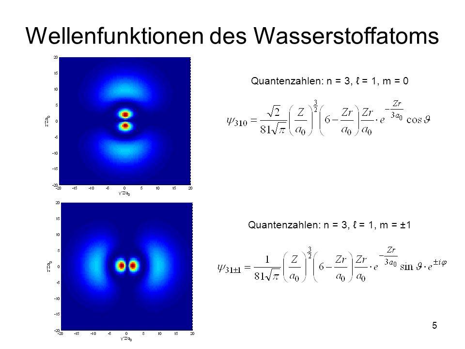 5 Wellenfunktionen des Wasserstoffatoms Quantenzahlen: n = 3, = 1, m = 0 Quantenzahlen: n = 3, = 1, m = ±1