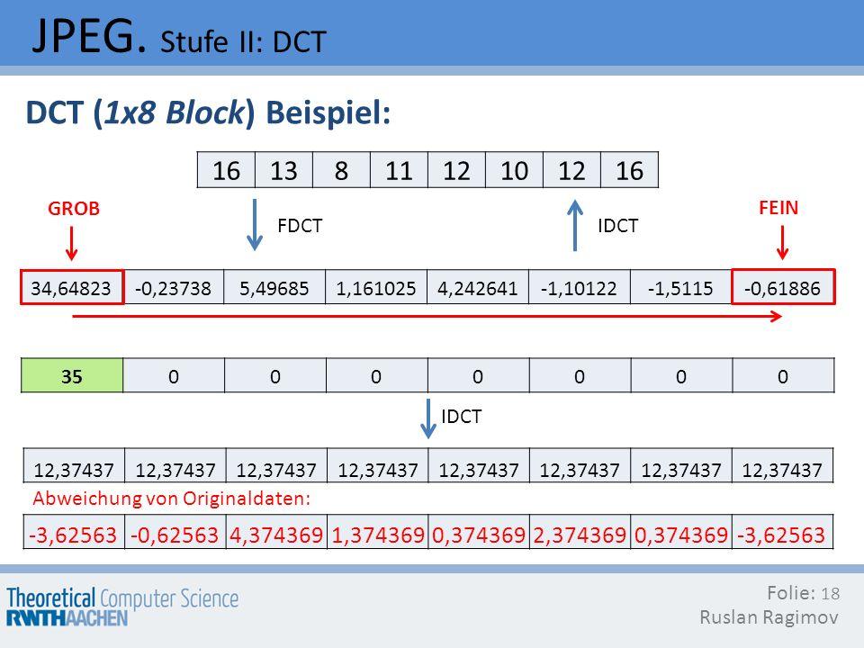 JPEG. Stufe II: DCT Folie: Ruslan Ragimov 18 DCT (1x8 Block) Beispiel: FDCT 161381112101216 34,64823-0,237385,496851,1610254,242641-1,10122-1,5115-0,6