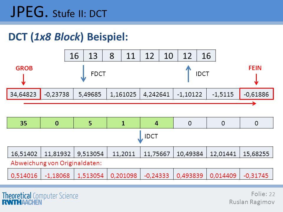 JPEG. Stufe II: DCT Folie: Ruslan Ragimov 22 DCT (1x8 Block) Beispiel: FDCT 161381112101216 34,64823-0,237385,496851,1610254,242641-1,10122-1,5115-0,6