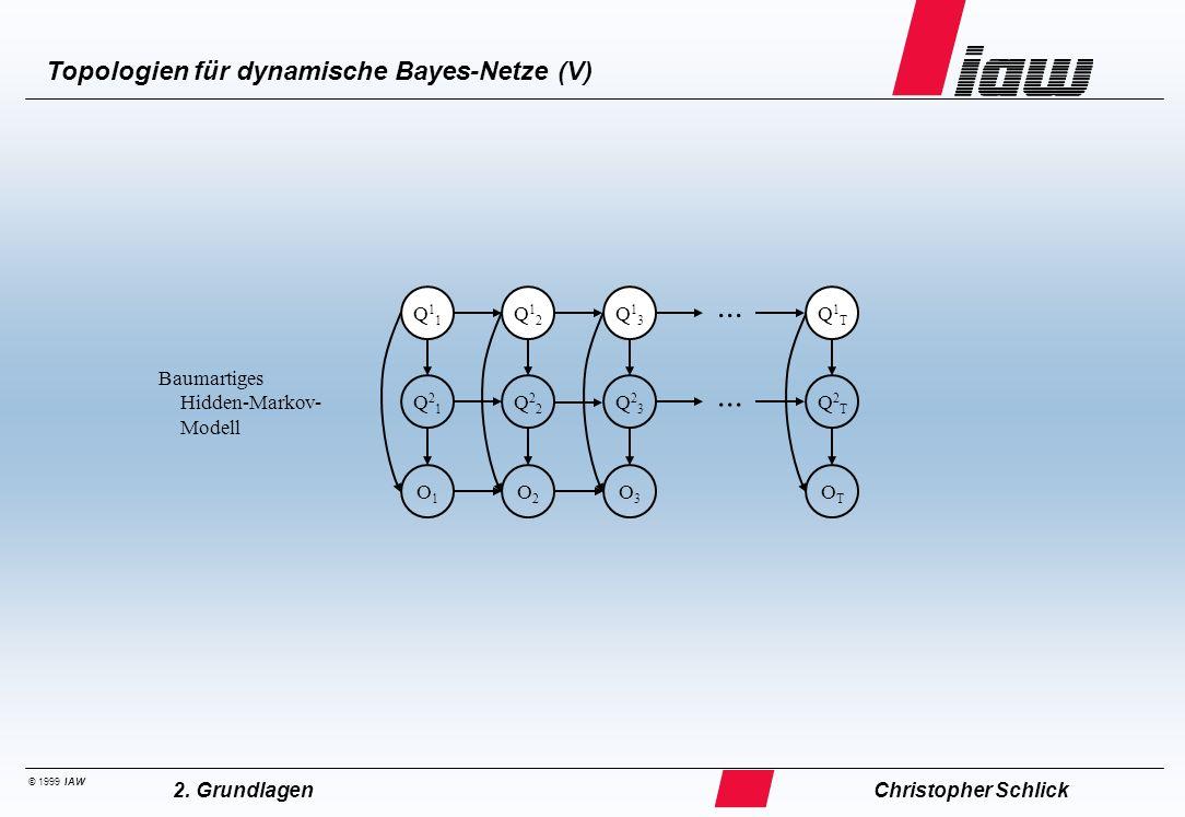 © 1999 IAW Topologien für dynamische Bayes-Netze (V) Christopher Schlick2. Grundlagen Baumartiges Hidden-Markov- Modell O1O1 O2O2 O3O3 OTOT Q21Q21 Q22