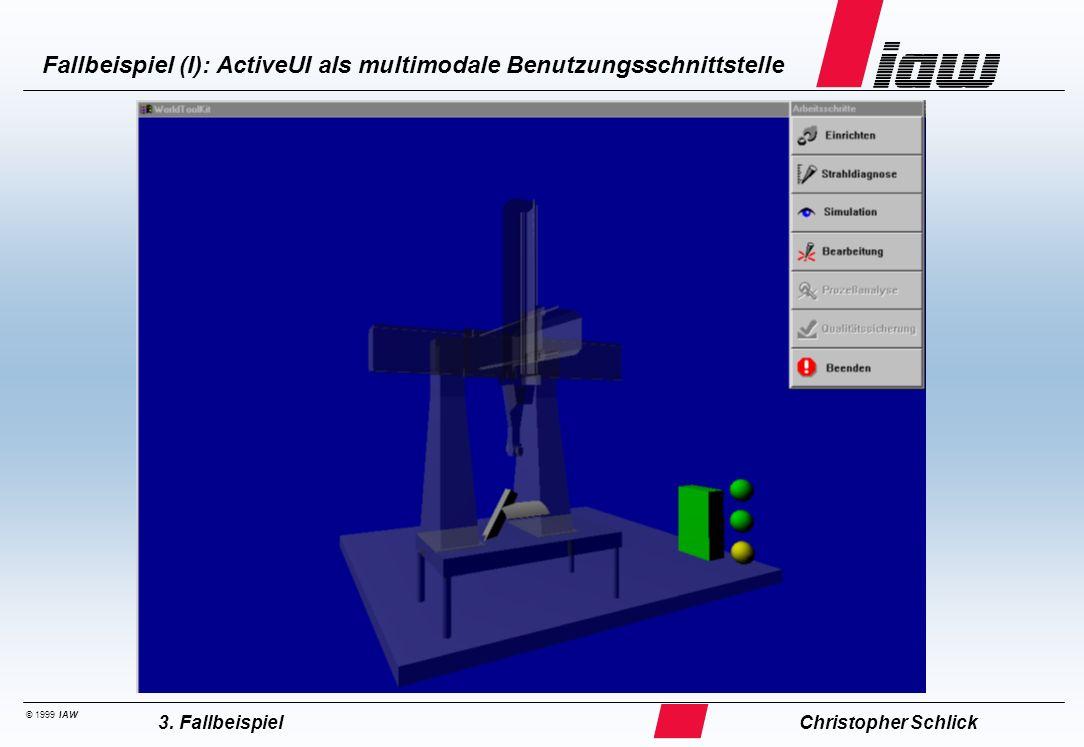 © 1999 IAW Fallbeispiel (I): ActiveUI als multimodale Benutzungsschnittstelle Christopher Schlick3. Fallbeispiel