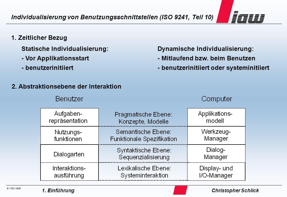 © 1999 IAW Individualisierung von Benutzungsschnittstellen (ISO 9241, Teil 10) Christopher Schlick1. Einführung 1. Zeitlicher Bezug 2. Abstraktionsebe