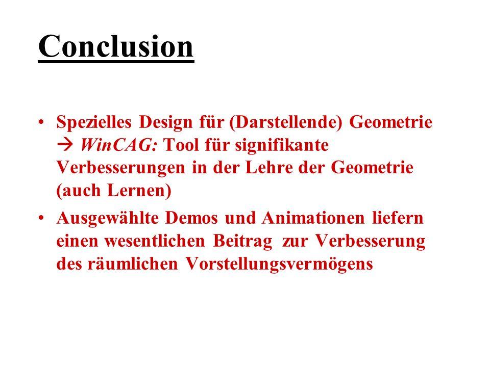 Conclusion Spezielles Design für (Darstellende) Geometrie WinCAG: Tool für signifikante Verbesserungen in der Lehre der Geometrie (auch Lernen) Ausgew