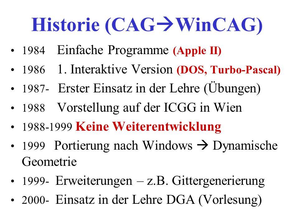 Historie (CAG WinCAG) 1984 Einfache Programme (Apple II) 1986 1. Interaktive Version (DOS, Turbo-Pascal) 1987- Erster Einsatz in der Lehre (Übungen) 1