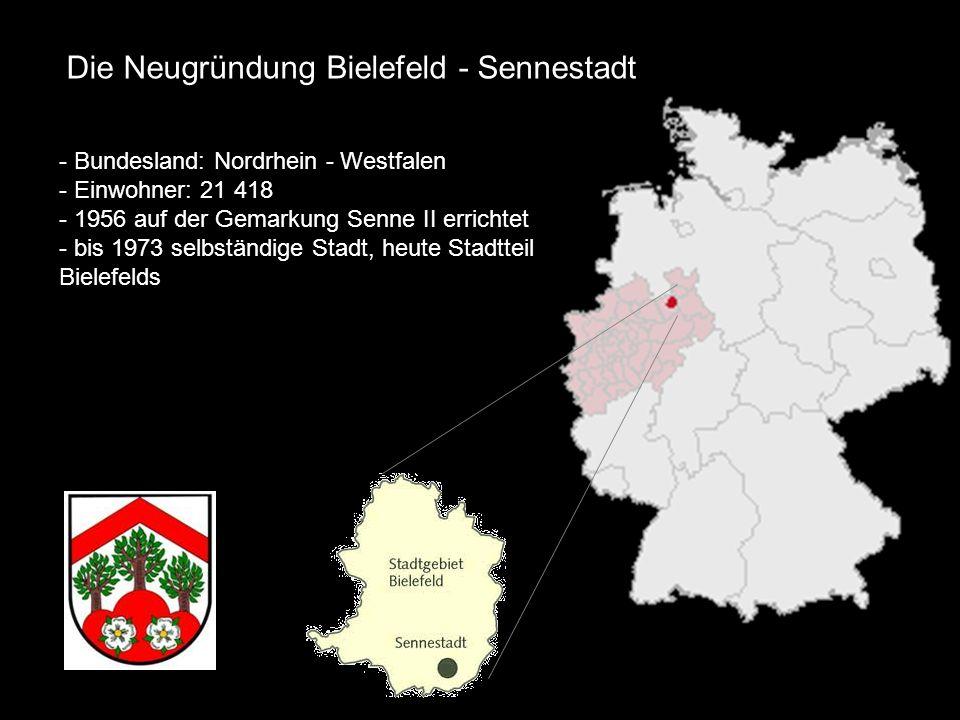 - Bundesland: Nordrhein - Westfalen - Einwohner: 21 418 - 1956 auf der Gemarkung Senne II errichtet - bis 1973 selbständige Stadt, heute Stadtteil Bie