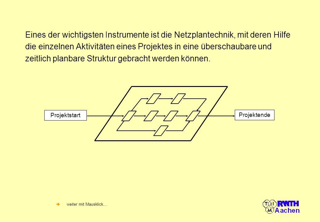 Eines der wichtigsten Instrumente ist die Netzplantechnik, mit deren Hilfe die einzelnen Aktivitäten eines Projektes in eine überschaubare und zeitlich planbare Struktur gebracht werden können.