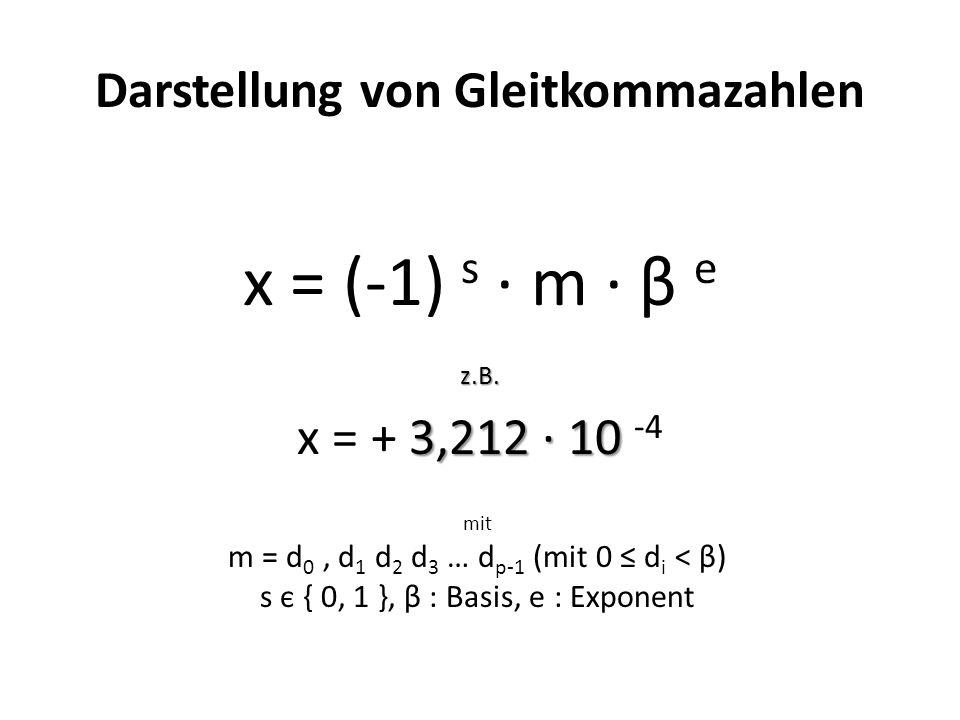 Darstellung von Gleitkommazahlen x = (-1) s m β ez.B.