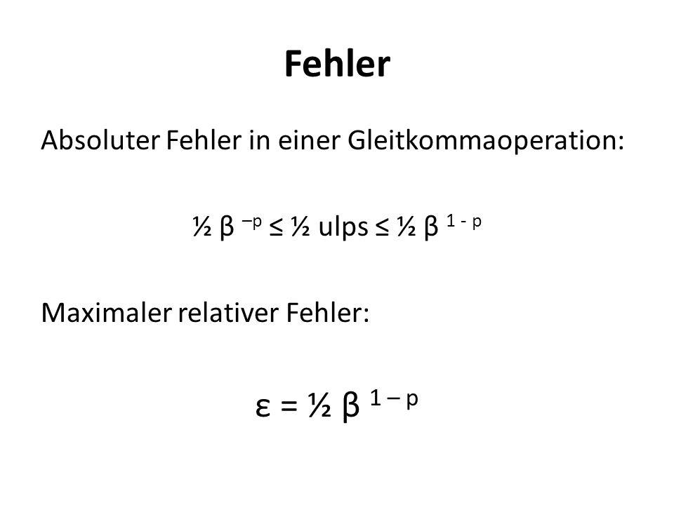 Fehler Absoluter Fehler in einer Gleitkommaoperation: ½ β –p ½ ulps ½ β 1 - p Maximaler relativer Fehler: ε = ½ β 1 – p