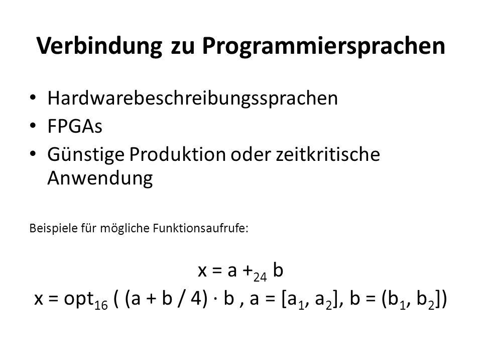 Verbindung zu Programmiersprachen Hardwarebeschreibungssprachen FPGAs Günstige Produktion oder zeitkritische Anwendung Beispiele für mögliche Funktionsaufrufe: x = a + 24 b x = opt 16 ( (a + b / 4) b, a = [a 1, a 2 ], b = (b 1, b 2 ])