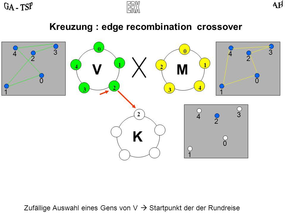 0 2 4 3 1 0 4 2 3 1 VM Kreuzung : edge recombination crossover 0 2 3 4 1 0 2 3 4 1 Zufällige Auswahl eines Gens von V Startpunkt der der Rundreise K 2 0 2 3 4 1
