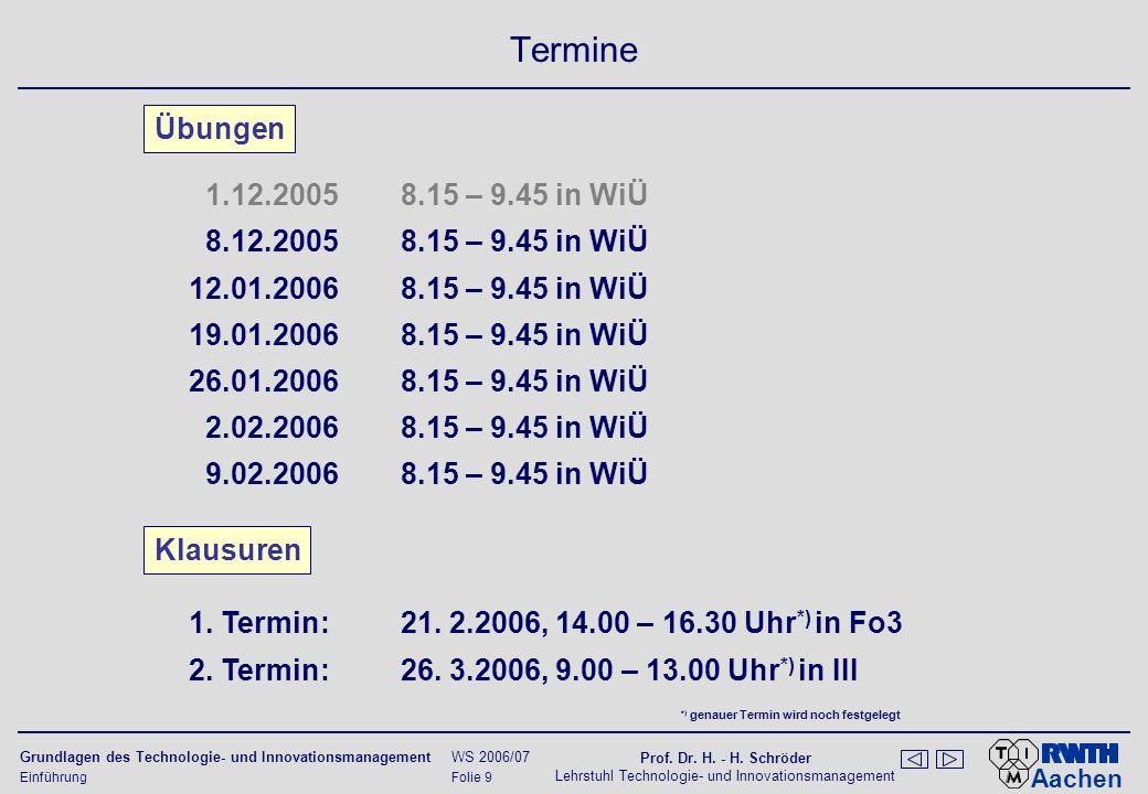 Aachen Grundlagen des Technologie- und Innovationsmanagement WS 2006/07 Prof. Dr. H. - H. Schröder Lehrstuhl Technologie- und Innovationsmanagement Ei