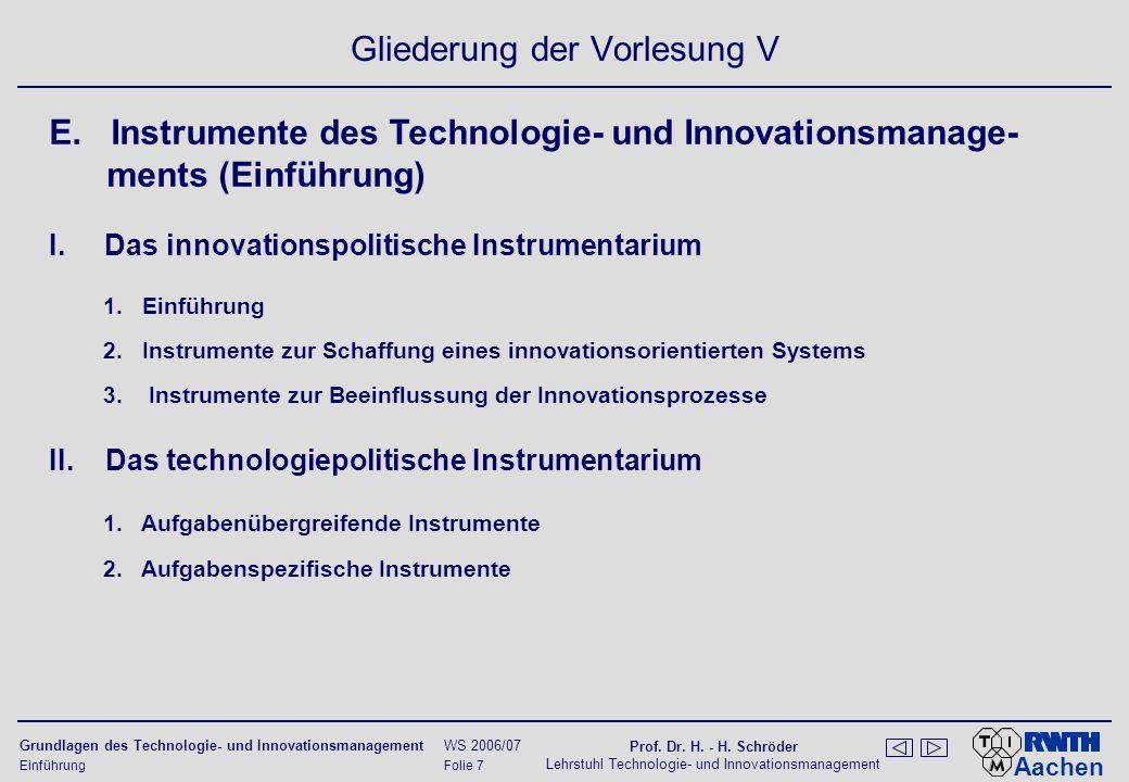 Aachen Grundlagen des Technologie- und Innovationsmanagement WS 2006/07 Prof.
