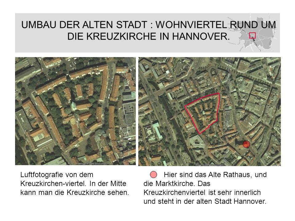 Luftfotografie von dem Kreuzkirchen-viertel. In der Mitte kann man die Kreuzkirche sehen. Hier sind das Alte Rathaus, und die Marktkirche. Das Kreuzki