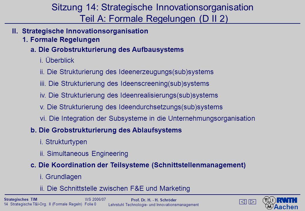 Aachen 14 Strategische T&I-Org. II (Formale Regeln) Folie 0 Strategisches TIM WS 2006/07 Prof. Dr. H. - H. Schröder Lehrstuhl Technologie- und Innovat