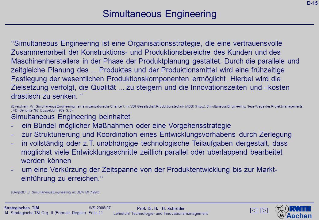 Aachen 14 Strategische T&I-Org. II (Formale Regeln) Folie 21 Strategisches TIM WS 2006/07 Prof. Dr. H. - H. Schröder Lehrstuhl Technologie- und Innova