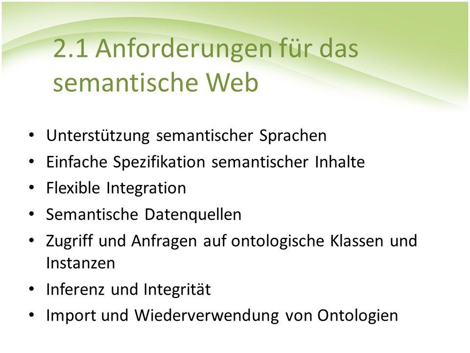 2.1 Anforderungen für das semantische Web Unterstützung semantischer Sprachen Einfache Spezifikation semantischer Inhalte Flexible Integration Semanti